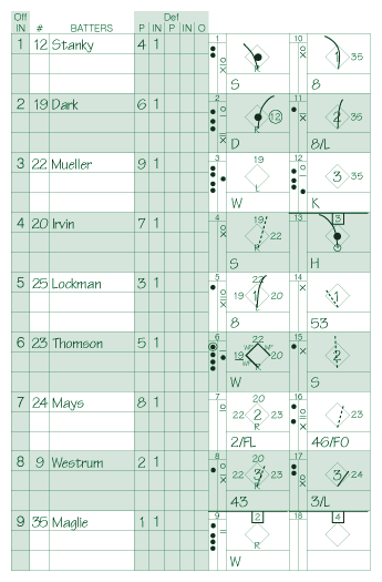 Three-inning example scorecard.